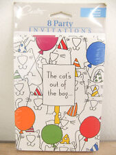 NEW Carlton Cards Cat's Out of the Bag 8 Party Invitations Envelopes & Checklist