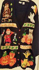 Halloween Sweater Cardigan Owl Scarecrow Fall Autumn