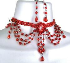 Ruby Red Goth Vintage Moulin Burlesque Prom Masquerade Choker Necklace Earrings