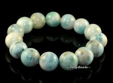 14MM DOMINICAN LARIMAR GEMSTONE BLUE ROUND 14MM BEADS BRACELET / LOOSE BEADS 8""