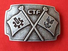 CTF (Capture the Flag) Metal Belt Buckle Halo Enmon 2-1/4X3-1/2 loop is 1-5/8 in