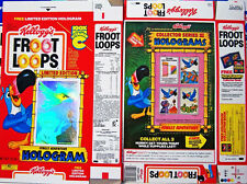 1990 Froot Loops Hologram Jungle Dinosaur Cereal Box unused factory Flat shm267