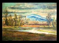 River Mountains Weeds Sky Shoreline > Impressionist Landscape > Cabin Painting
