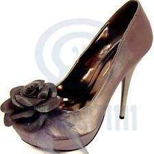 Women High Heels Floral Pewter Grey Satin Pump Platform Sexy Evening Party Shoes