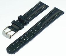 Uhrenarmband XL mit Wulst echtes Leder blau kompatibel für Camel Trophy  18 mm