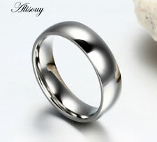 6mm Smooth Stainless Steel Band Men/Womens Blue/Gold/Silver Wedding Ring Sz 4-15