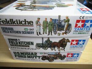 3x New Tamiya 1/35 Kits German Field Kitchens # 35247 & 35103 + US M15 Ford Mutt