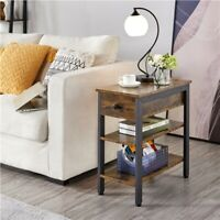 Modern End Table with Drawer and Shelves Bedside Table Nighstand Accent Table