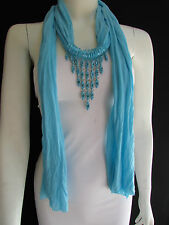 Women Light Blue Scarf Fashion Long Necklace Triangle Shiny Rhinestones Pendant