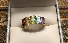 14k YG Emerald Cut Amethyst, Blue Topaz, Peridot, Citrine, Garnet Women's Ring 6
