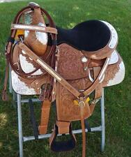 """14"""" Youth Adult Saddle ShOw Medium Oil FULL SILVER TOOLED Western FQHB HsBp"""