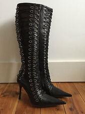 Gianmarco Lorenzi Femmes Noir Cuir Bottes Hautes UK4.5