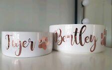 Personalised Ceramic Dog Cat Pet Bowl Dish Rose Gold - Small Christmas present