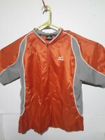 Mizuno Mens Pullover Jacket Size Medium Orange Grey