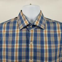 Peter Millar Mens Blue Multi Color Plaid Check L/S Dress Button Shirt Sz Large L