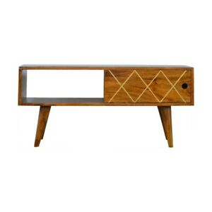 Solid Wood Retro Art Deco Vintage Style Media TV Stand Unit with Brass Detail