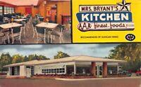 Postcard Mrs. Bryant's Kitchen Restaurant in Statesboro, Georgia~123218