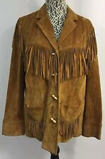 RALPH LAUREN Camel Tan Suede Leather Fringe Western Jacket Coat RARE! Plus Sz 1X