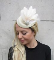 Cream Pearl Feather Pillbox Hat Hair Clip Fascinator Races Wedding Vintage 6301