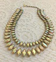 Dazzling Vtg Juliana Clear Aurora Borealis Rhinestone Collar Necklace 2 Strand