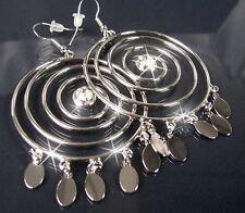 Ohrringe Silber plattiert Creolen Curling Anhänger Strass Schmuck Damen O973*
