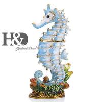 Handmade Metal Trinket Box Ring Holder Bejeweled Figurine Collectible (Seahorse)