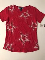 Karen Scott Womens Fashion T-Shirt Petite PM PXL PP Red NWT
