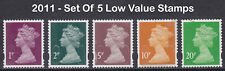2011 Machin SG U2991-2995 Set Of 5 Low Value Used Security Stamps