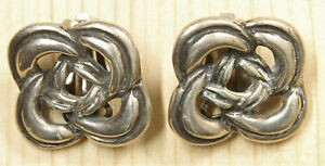 Nice Sterling Silver Celtic Knot Clip on Earrings X271A