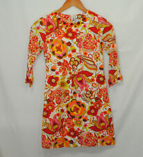 Willoughby Girls Size 12 Dress Paisley Floral Orange Red Pink Green Brown Lined
