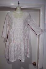 NWT VINTAGE STYLE CREAM LACE LIKE MINI TIERED TUNIC DRESS,SZ-10 BY SPICYSUGAR
