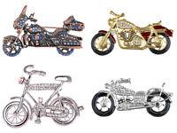Fashion Silver Crystal Enamel Rhinestone Motorcycle Bicycle Racer Fun Pin Brooch