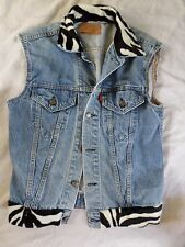 LEVIS true vintage 90s denim zebra print jean jacket vest 38 SMALL