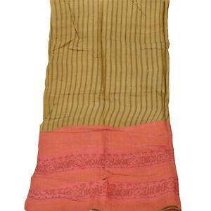 Tcw  Vintage Dupatta Long Stole Pure Silk Green Painted Wrap Patch Scarves