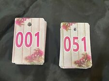 New listing Plastic Number Tags Live Sale Normal Reverse Mirror Image Hanger Cards 01-100