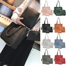 4PCS/Set Women Lady Leather Shoulder Bag+Handbag+Satchel Clutch+Coin Purse Lot