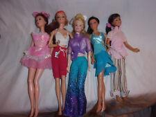 "Mattel Dolls Barbie Hair Pink Dress Blue Dress Glitter Clothes 12"" Toy"