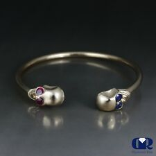 Skull Design Cuff Bangle Bracelet With Natural Ruby & Sapphire In 10K Solid Gold