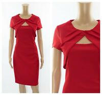 ex Roman Originals Pleated Cut Out Neckline Shift Cocktail Party Dress