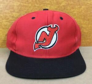Vintage NOS New Jersey Devils NHL Snapback Cap Hat RARE back Letter New w/Tag
