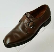 Sears Monk Strap Cushioned Easy Flex Mens Brown Leather Shoes Size 8.5EE