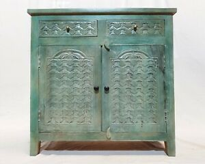 Made to Order Floral Hand Carved Solid wood Sideboard Turquoise M
