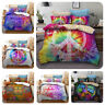 3D Colorful Hippie Peace Symbol Bedding Duvet Cover Set Pillow Case Quilt Cover
