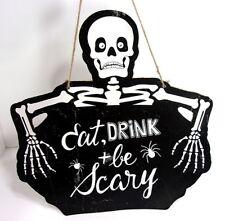 "VTG Halloween Eat, Drink & Be Scary Skeleton Hanging Wall Door Sign 12"" x 12"""