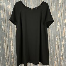 ELLOS Black Stretch Zip Back Dress Career Short Sleeve Size 24