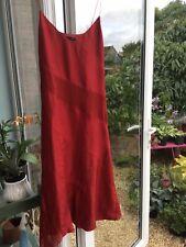 H & M Vestido Talla 12 100% seda rojo oscuro, forrado