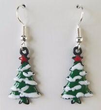 Christmas Tree Dangle Earring SILVER PLATED hooks NEW Women Ladies Girl