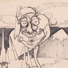 Surreal pen & ink drawing portrait frog man ice snow mountain vintage surrealist