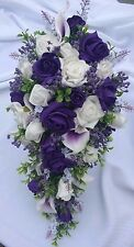 Wedding Flowers Shower Bouquet Package White & Purple Lillies Purple Gyp