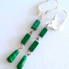 PAIR OF SILVER PLATED MALACHITE DANGLE EARRINGS. NEW.